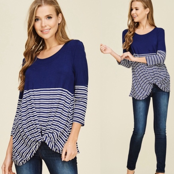 c48c49861fa1b 30% OFF 2 MORE Med Blue Striped Twist Detail Top